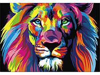"""Картина раскраска по номерам """"Радужный лев"""" набор для рисования"""