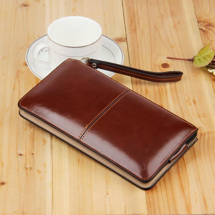 Женский кошелек Стиль на молнии большой коричневый