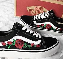 Кеды Vans Old Skool Black/White Roses (унисекс), vans old school, ванс олд скул