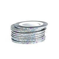 Клейкие ленты для ногтей, маникюра, 1 мм (серебро голографик)