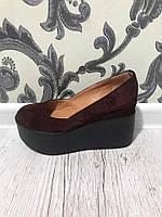 Женские туфли из натуральной кожи и замши  на платформе р.35-41