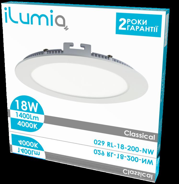 """Світлодіодний вбудований світильник Ilumia 029 RL-18-200-NW 18W 4000K """"Коло"""""""