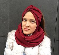 Бордовый винный  шарф снуд