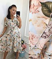Нежное платье, цветочный принт, 44-50 р, Одесса 7 км