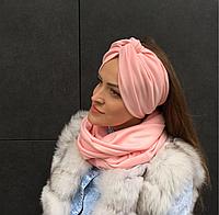 Персиковый шарф снуд , фото 1