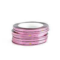 Клейкие ленты для ногтей, маникюра, 1 мм (розовые)