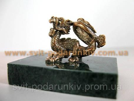 Оригинальный сувенир, бронзовая фигурка Дракон, фото 2