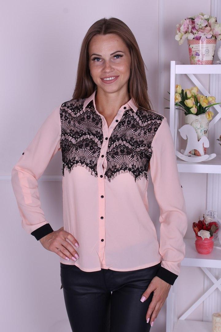 Блузка женская цвет пудра с кружевом