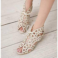 Черный / Коричневый / Белый - Женская обувь - Для офиса / Для праздника - Дерматин - На низком каблуке - Удобная обувь - Сандалии 03035434