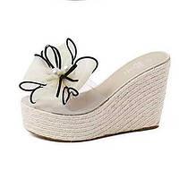 Черный / Розовый / Белый-Женская обувь-Для прогулок-Дерматин-На танкетке-Удобная обувь-Сандалии 04994985