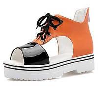 Розовый / Белый / Оранжевый-Женская обувь-На каждый день / Для вечеринки / ужина / Для праздника-Дерматин-На платформе-С открытым носком 04930865