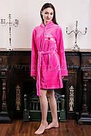 Женский махровый халат короткий Wild Love розовый (бесплатная доставка+подарок)
