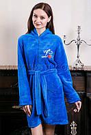 Женский махровый халат короткий Wild Love синий (бесплатная доставка+подарок)