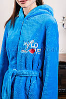 Женский махровый халат короткий Wild Love голубой