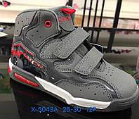Серые детские спортивные демисезонные ботинки для мальчиков Размеры 25-30
