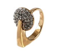"""Кольцо """"Сальто"""" с кристаллами Swarovski, покрытое золотом с родием (a086q000)"""