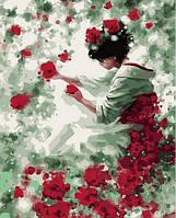 "Картина раскраска по номерам ""Японская роза"" набор для рисования"