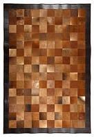 Коричневый ковер с кожаным кантом темно коричневого цвета, фото 1