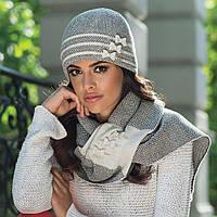 Зимний женский набор (шапка и шарф) Felicia Kamea, светло-бежевый цвет, фото 1