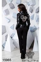 Стильная куртка косуха из эко-кожи с нашивкой на спине хит Balani (42,44,46)