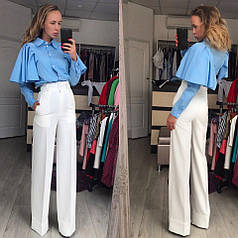 Популярные брюки трубы с завышенной талией в расветках