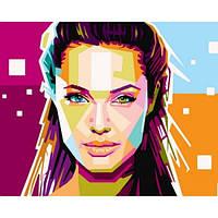 """Картина раскраска по номерам """"Анжелина Джоли"""" набор для рисования"""