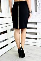 Юбка большого размера Змейка 089,  черная юбка до колена для полных