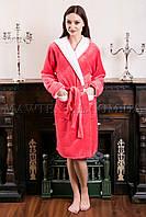 Женский махровый халат короткий Fashion персик (бесплатная доставка+подарок)