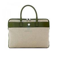 """Стильная сумочка из ткани со вставками из натуральной кожи, KNOMO Avigon для MacBook Air / Pro 13"""" - бежевая с салатовым (28-203-GRN)"""