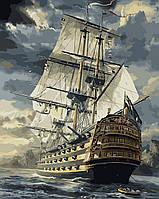 """Картина раскраска по номерам """"Военный фрегат"""" набор для рисования"""