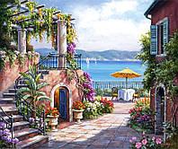 """Картина раскраска по номерам """"Тихий дворик"""" набор для рисования"""