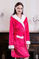 Женский махровый халат короткий Fashion малина