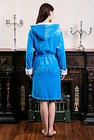 Женский махровый халат короткий Fashion голубой (бесплатная доставка+подарок)