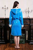 Женский махровый халат короткий Fashion голубой