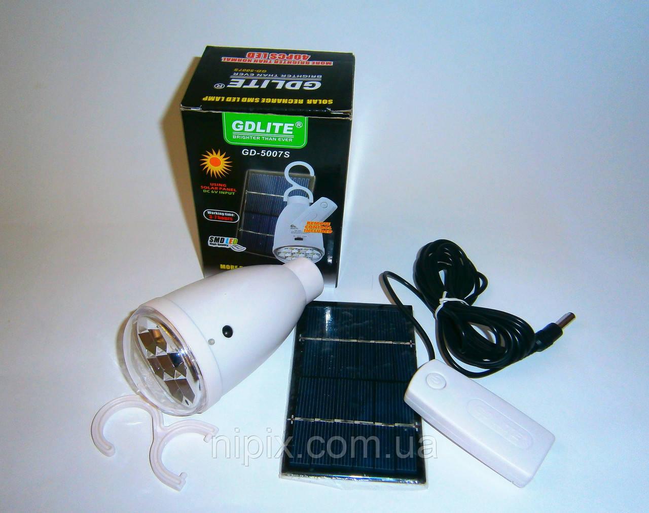 Аккумуляторная лампа-фонарь GD 5007S на солнечной батарее