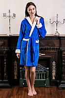 Женский махровый халат короткий Fashion синий