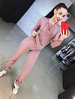 Женский стильный вязанный костюм со шнуровкой, в расцветках