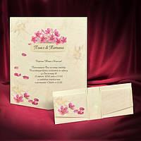 Яркие приглашения на свадьбу с цветочками, складываются втрое