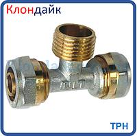 Тройник для металлопластиковой трубы с наружной резьбой 16х1/2х16