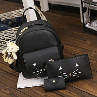 Рюкзак женский Кот с усиками 3 в 1 (черный)