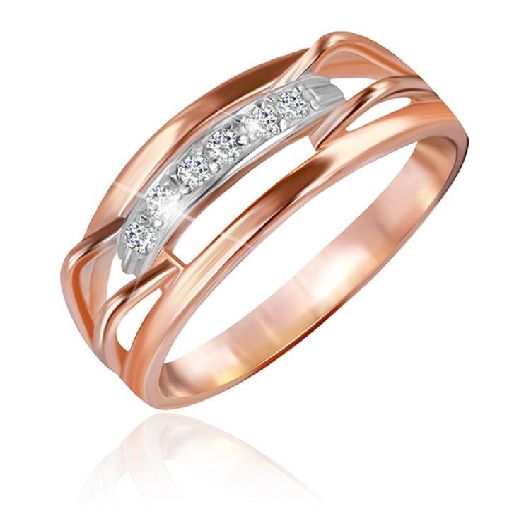 """Серебряное кольцо с позолотой """"023"""""""