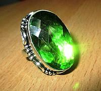 "Яркое кольцо ""Олива"" с хризолитом, размер 18.1 от студии LadyStyle.Biz"