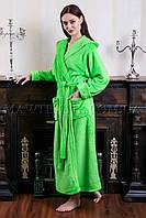 Женский махровый халат длинный Комфорт салатовый(бесплатная доставка+подарок)
