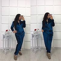 Женский спортивный велюровый костюм больших размеров (3 цвета)