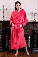 Женский махровый халат длинный Комфорт персик