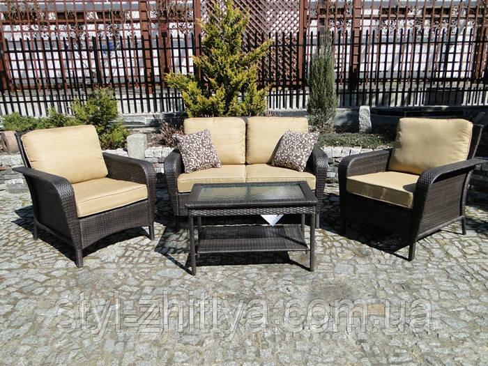 Набір садових меблів з техноротангу: Диван + 2 крісла + стіл