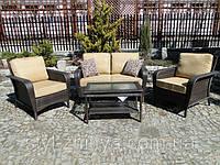 Набір садових меблів з техноротангу: Диван + 2 крісла + стіл, фото 1