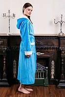 Женский махровый халат длинный Fasion голубой(бесплатная доставка+подарок)
