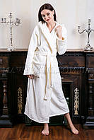 Женский махровый халат длинный белый