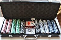 Покерный набор на 500 фишек без номинала в черном кейсе
